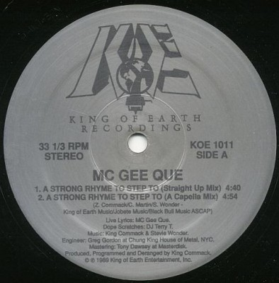 MC Gee Que - A Strong Rhyme To Step To / Give It Up