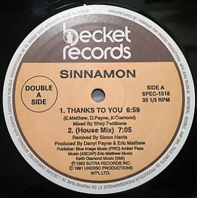 Sinnamon - Thanks To You / He's Gonna Take You Home (To His House)