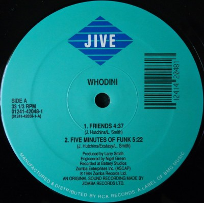Whodini - Friends / Five Minutes Of Funk