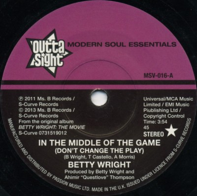 Betty Wright - In The Middle Of The Game (Don't Change The Play) / Whisper In The Wind