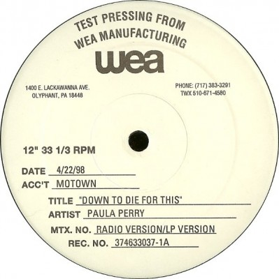 Paula Perry - Down To Die For This