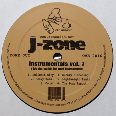 J-Zone - A Job Ain't Nuthin But Work (Instrumentals Vol. 7)