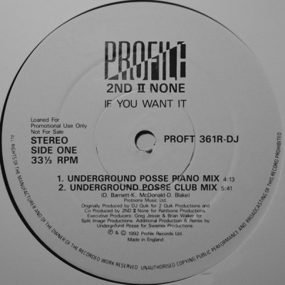 2nd II None - If You Want It (Remixes)