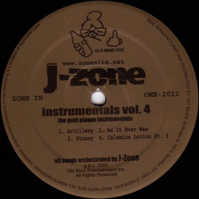 J-Zone - The Gold Plague Instrumentals (Instrumentals Vol.4)